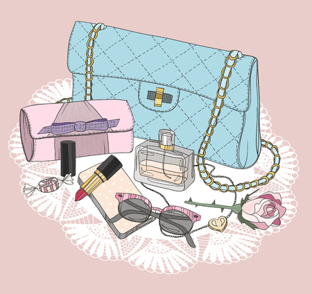 jewelery: Fashion essentials. Background with bag, sunglasses, shoes, jewelery, perfume, makeup and flowers. Illustration