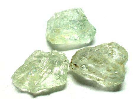 Aquamarine rough gemstones Stock Photo