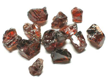 spinel: Red garnet rough gemstones Stock Photo