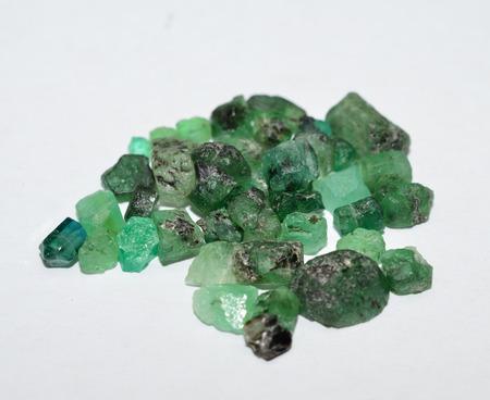 gemstones: Emerald rough gemstones mixed Lot Stock Photo