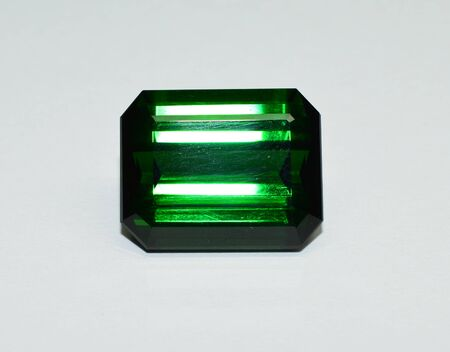 Green tourmaline gemstone faceted