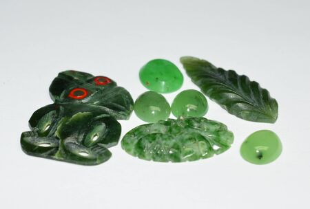 Engraved nephrite gemstones