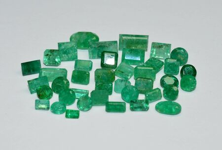 Emerald gemstones faceted
