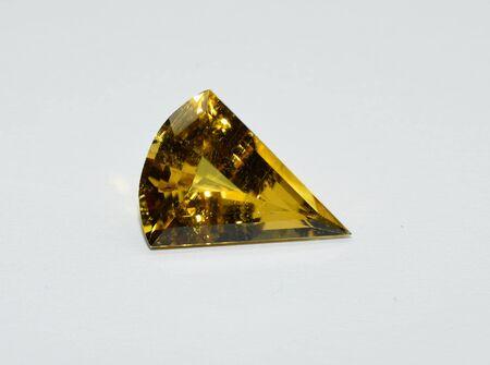 Yellow tourmaline gemstone faceted