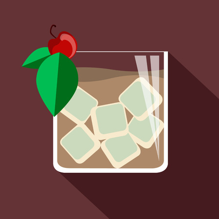 full bodied: illustration of cocktail. old fashion. Vector collection. eps 10