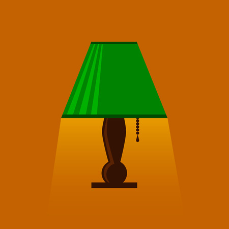 illuminator: table-lamp, desk lamp,  reading-lamp with light,  flat style vector illustration,