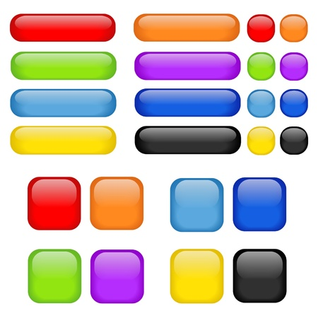 Nice vector set of buttons with glass effect