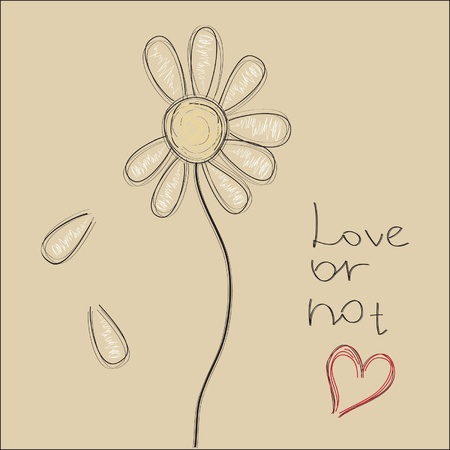 margerite: Nice vector sketch of daisy with sample text love or not Illustration