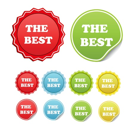 Vector set of stickers with sample text the best Illustration