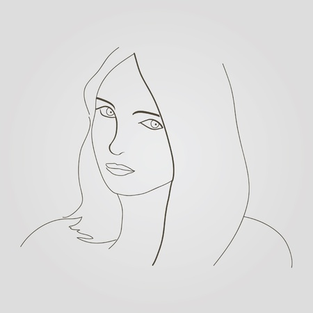 Nice vector sketch of beautiful woman