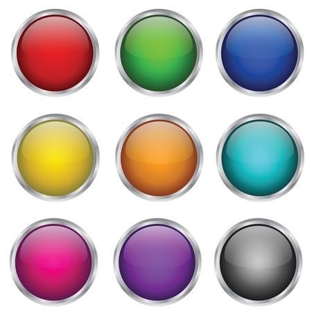 Vector set of round glass buttons Illustration