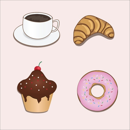 Vector set with coffe and sweets Vector
