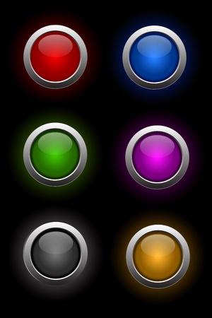 cromo: vector de conjunto de botones de vidrio de ne�n Vectores
