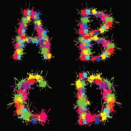 Colorful alphabet with blots ABCD Vector