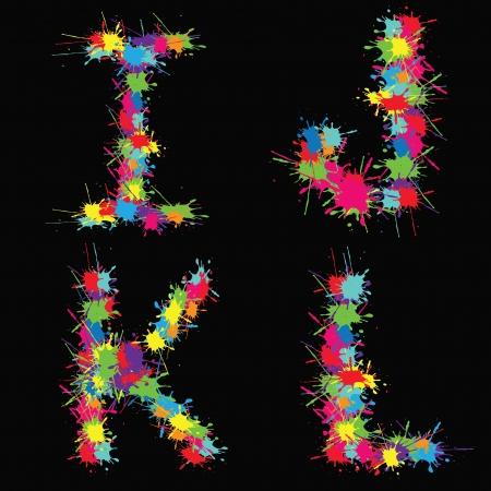 Colorful alphabet with blots IJKL