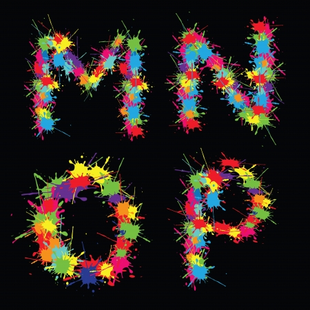 Colorful alphabet with blots MNOP Vector