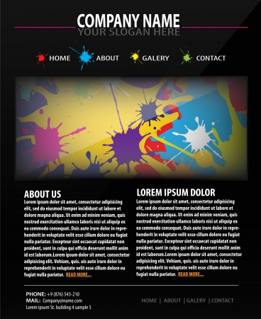 Colorful Web site design template with drops