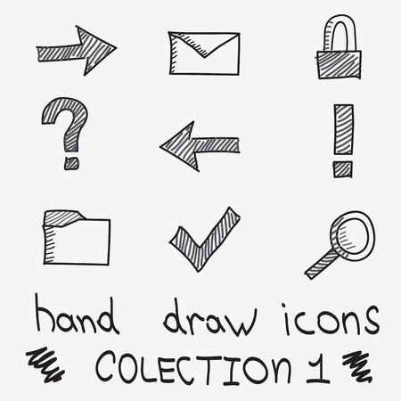 hand drawn iconc for web using Illustration