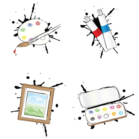 tempera: Set of 4 painting icons