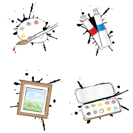 verfblik: Set van 4 schilderen van iconen Stock Illustratie