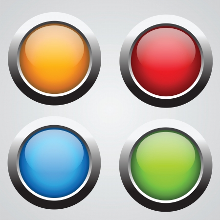 metallic button: Nice set of round buttons with glossy effect. Buy it for web using!