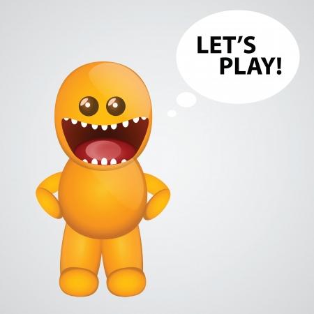 funny orange monster speaking  Illustration