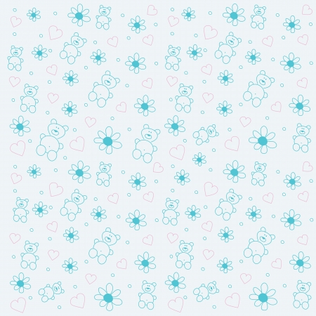 fabric swatch: seamless  background with bears and flowers
