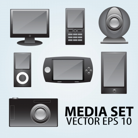 Set of 7 computer and media icons Vector