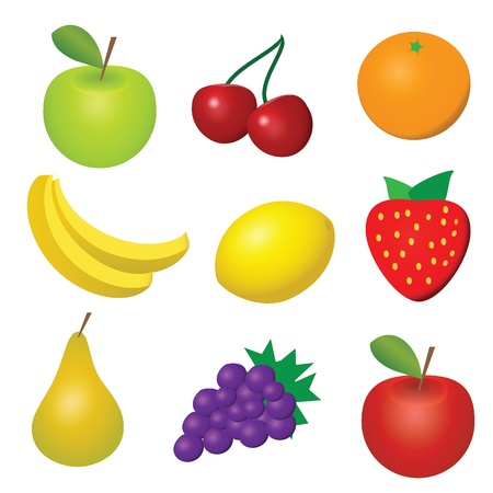 illustration of 9 fruits and berries Vector