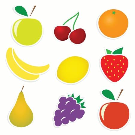illustration of 9 sticky fruitss Illustration