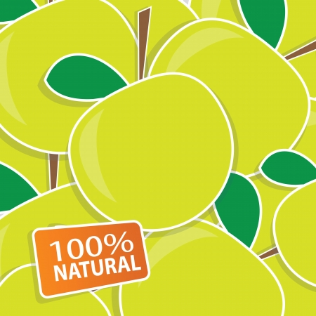 Vector backgorund with green apples Illustration