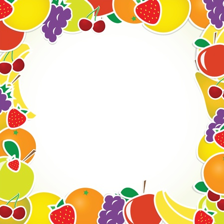 fruit clipart: frame with fruits