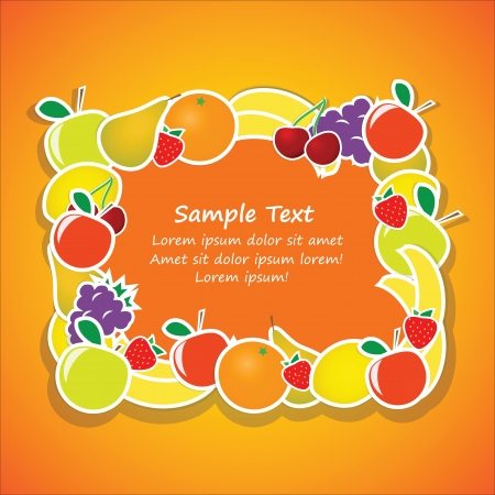 rectangular frame from fruits Vector