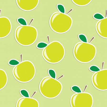fresh green apple seamless background  Illustration