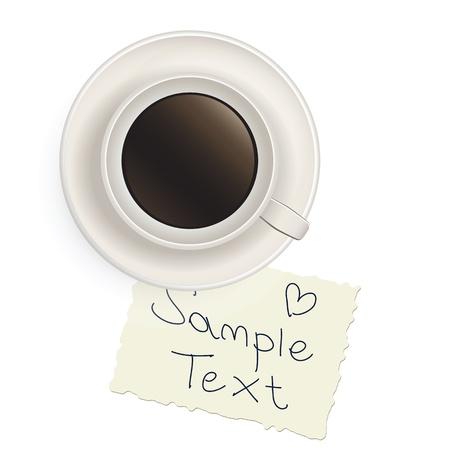 Cup with black coffee with a note