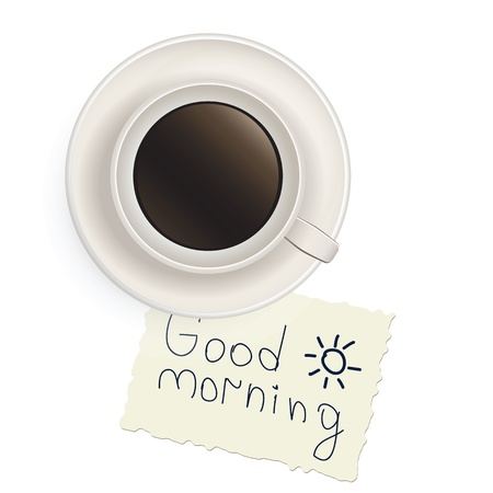 Cup of black coffee with a note good morning Illustration