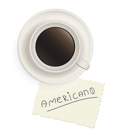 Cup of black coffee with a note