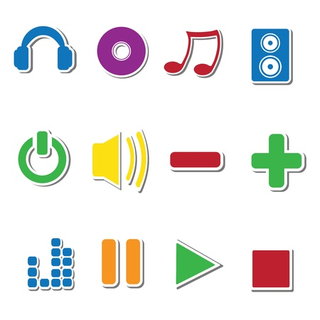 Colorful vector sticker icons  Illustration