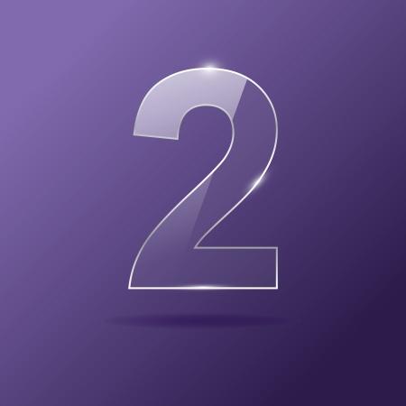 Glass number 2 on purple