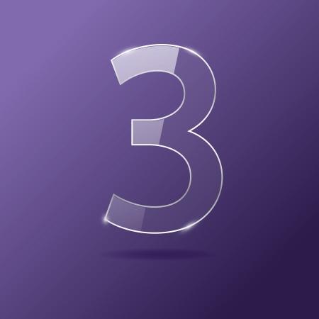 Glass number 3 on purple Illustration