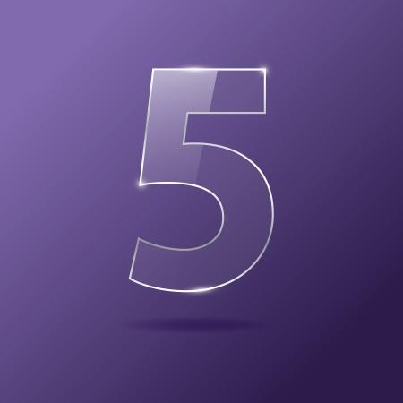 Glass number 5 on purple