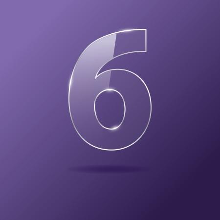 Glass number 6 on purple Illustration