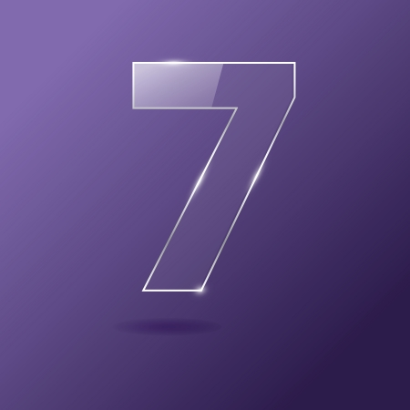 Glass number 7 on purple Illustration