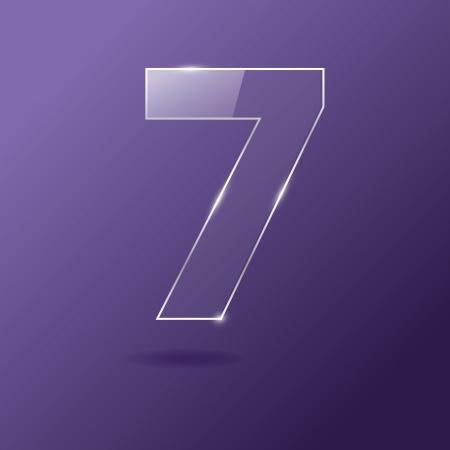 Glass number 7 on purple Illustration