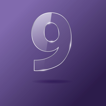 Glass number 9 on purple Illustration