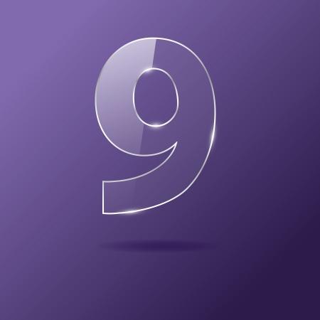 Glass number 9 on purple Illustration