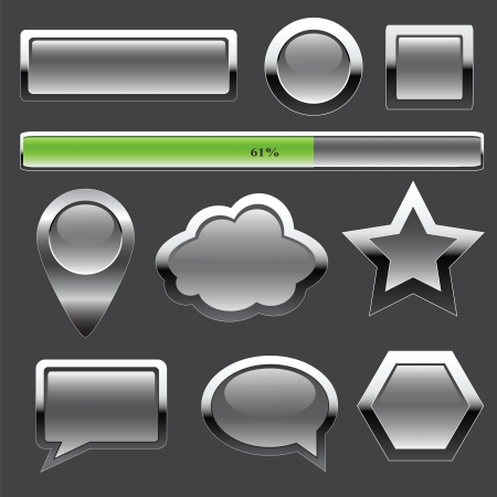 Metal buttons and elements of interface Vector