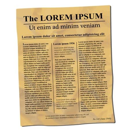 oude krant: Oude verfrommelde krant Stock Illustratie