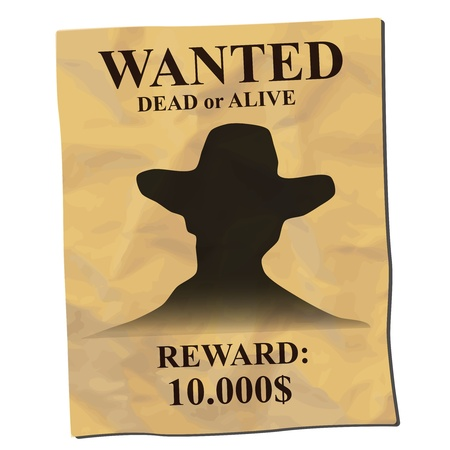 western wall: old wanted poster with a cowboy silhouette