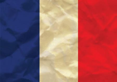 Crumpled flag of France Illustration